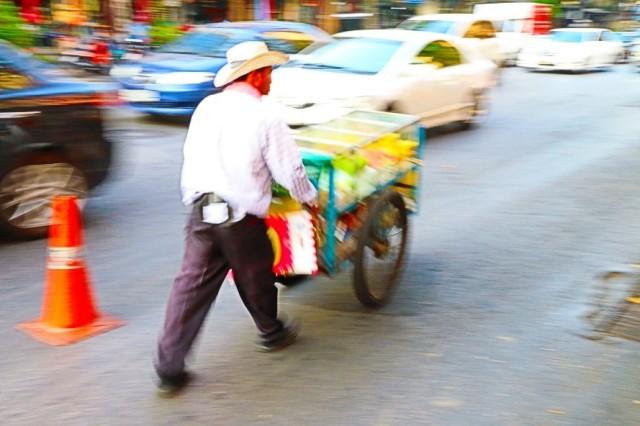 man and cart