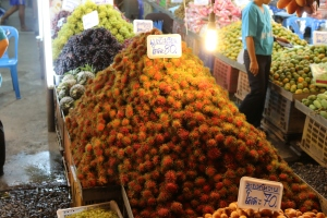 Thai rambutan on market stall